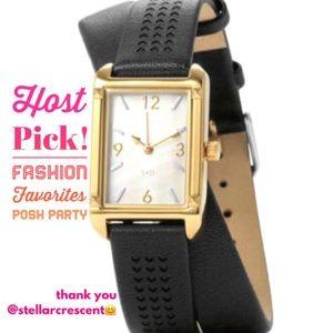 :: Stella & Dot Pyramid Watch - Double Wrap Black
